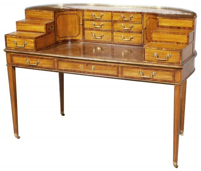 George III Style Inlaid Satinwood Carlton House Desk