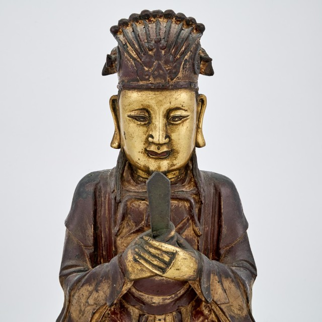 Chinese Gilt-Bronze and Lacquered Figure of a Daoist Immortal