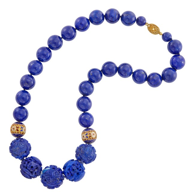 Lapis, Silver-Gilt and Enamel Bead Necklace
