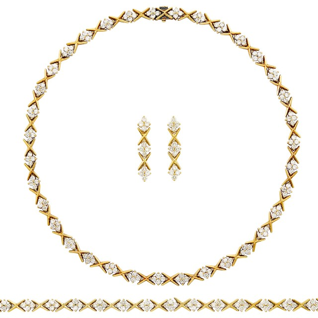 Gold and Diamond Necklace, Bracelet and Pair of Pendant-Earclips