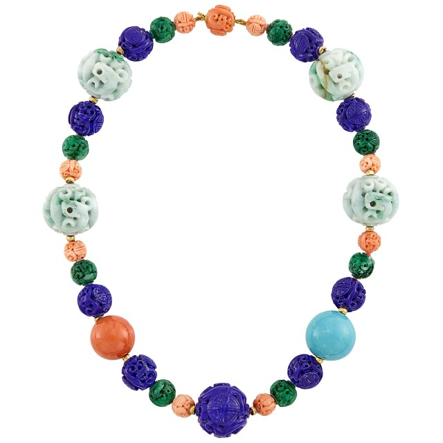 Carved Jade, Lapis, Coral, Aventurine Quartz, Turquoise and Gold Bead Necklace