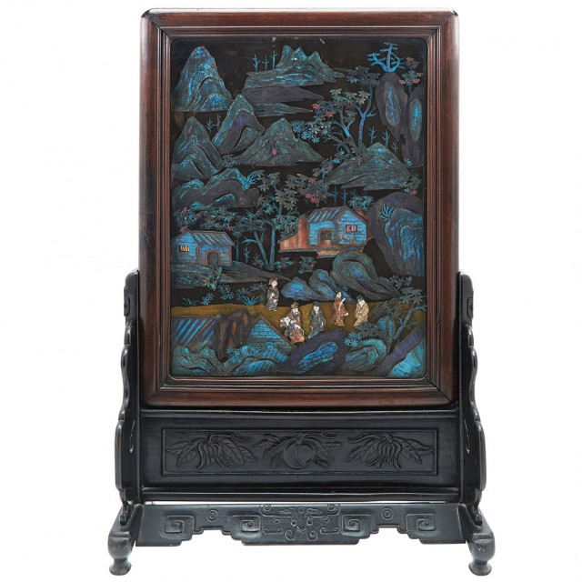 Chinese Kingfisher Feather Table Screen