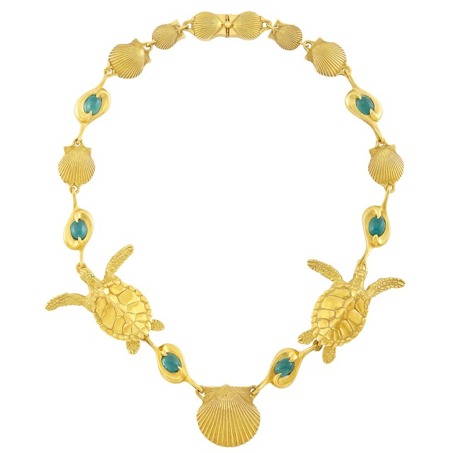 Gold and Cabochon Tourmaline Shell and Sea Turtle Necklace, André Harvey, Donald Pywell