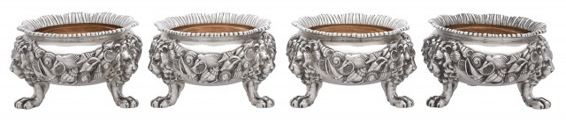 Set of Four George IV Sterling Silver Open Salt Cellars