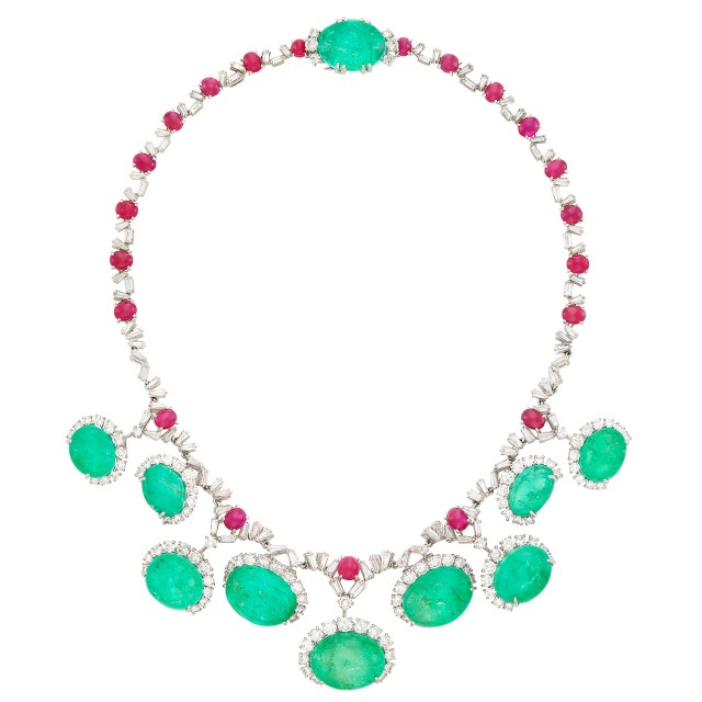 Platinum, Cabochon Emerald, Ruby and Diamond Necklace, Cartier, France