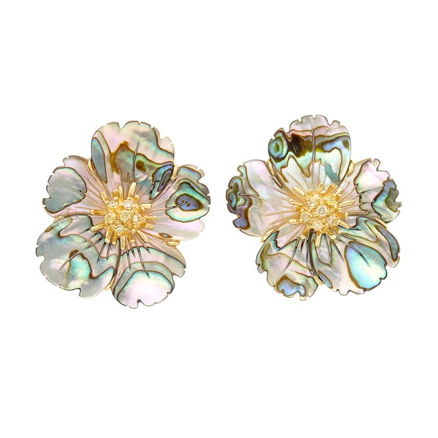 Pair of Carved Abalone Shell, Gold and Yellow Diamond Flower Earclips