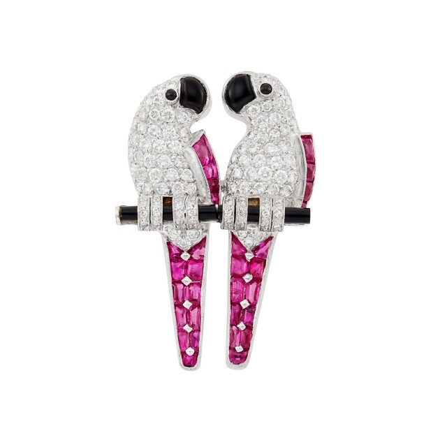 Platinum, Diamond, Cabochon Ruby and Black Onyx Love Bird Brooch