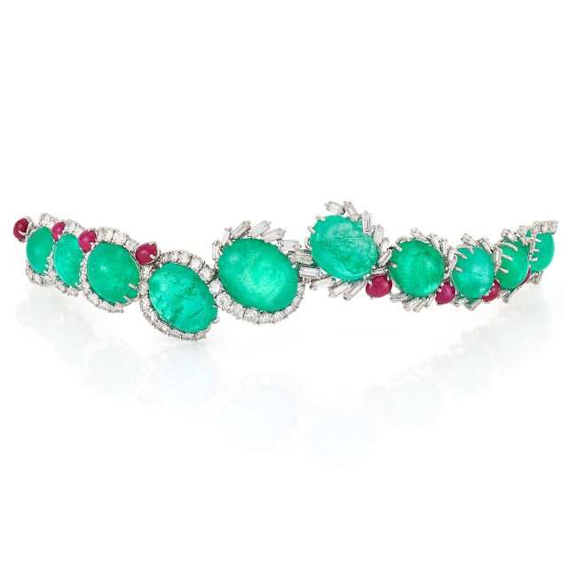 Platinum, Cabochon Emerald and Ruby and Diamond Bracelet, Cartier, France