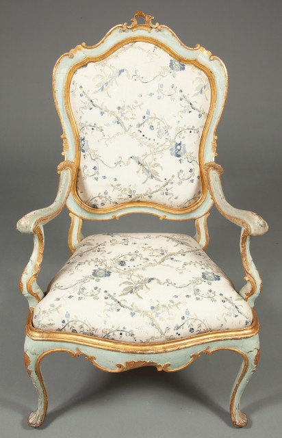 Set of Four Venetian Rococo Blue-Painted and Parcel-Gilt Armchairs