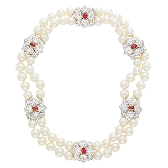 Tiffany & Co. Double Strand South Sea Cultured Pearl, Platinum, Gold, Ruby and Diamond Necklace, France