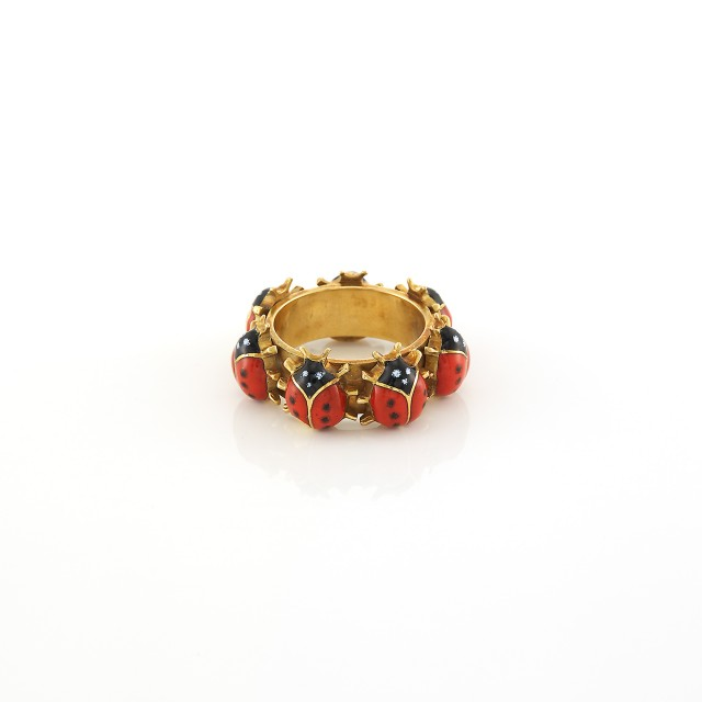Gold and Enamel Ladybug Band Ring, Cartier