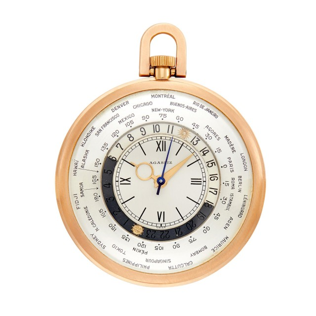 Agassiz Rose Gold Open Face 'World Time' Open Face Pocket Watch
