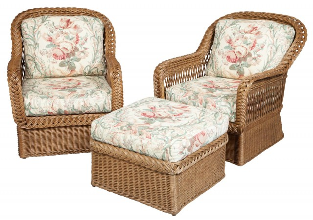 Pair of Natural Wicker Armchairs and Ottoman en Suite