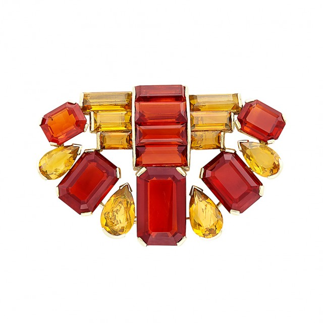 Gold and Citrine Clip-Brooch