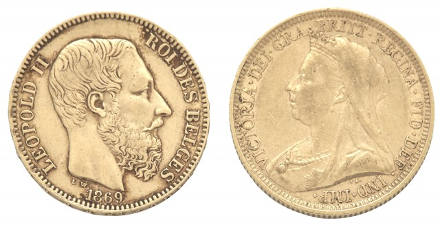 Belgium and England Gold Coins