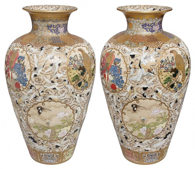Pair of Massive Japanese Satsuma Vases