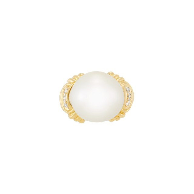 Gold and South Sea Cultured Pearl Ring