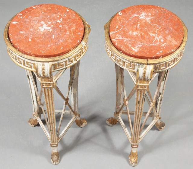 Pair of Italian Neoclassical Painted and Parcel-Gilt Athéniennes-Pedestals