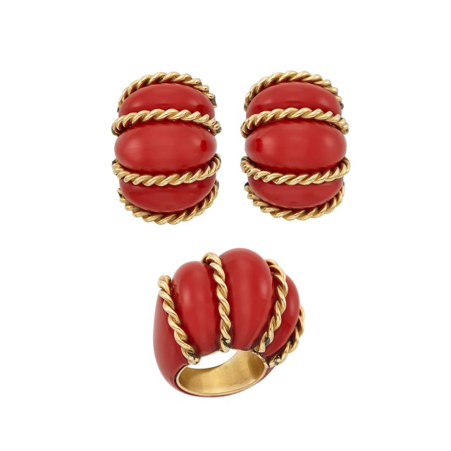 Red Composite and Gold Bombé Ring and Pair of Earclips, Seaman Schepps