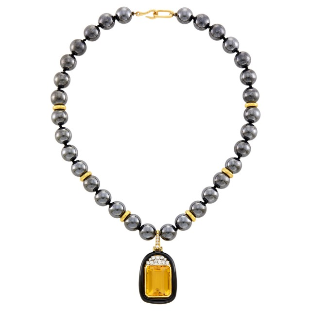 Andrew Clunn Hematite Bead, Hammered Gold, Platinum, Citrine, Black Enamel and Diamond Pendant-Necklace