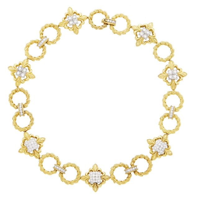 Wander Gold, Platinum and Diamond Link Necklace, France