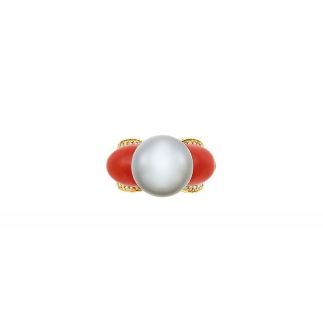 Gold, Tahitian Gray Cultured Pearl, Coral and Diamond Ring