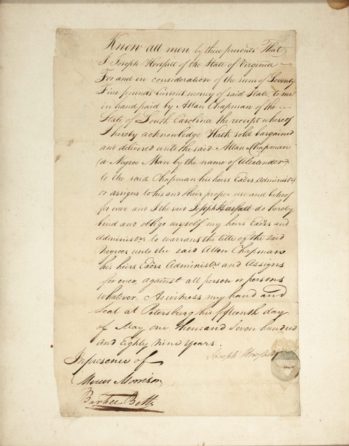 [SLAVERY]  Letter regarding the transfer of a slave.