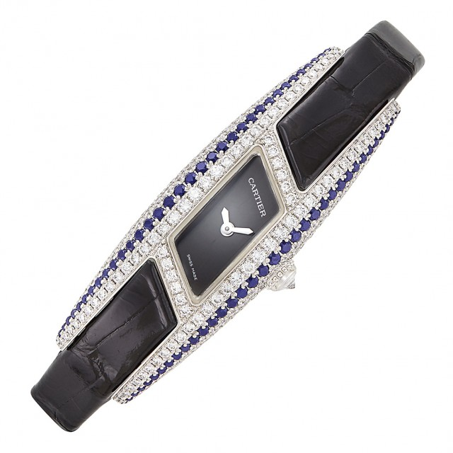White Gold Diamond and Sapphire \'Himalia\' Parallelogram Wristwatch, Cartier