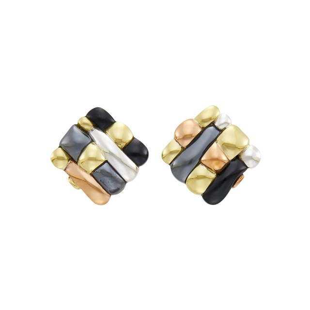 Tiffany and Co. Pair of Mixed Metal and Black Jade Earclips