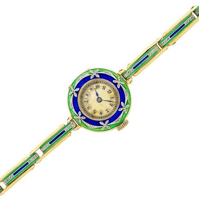 Antique Gold, Platinum, Blue and Green Enamel and Diamond Wristwatch