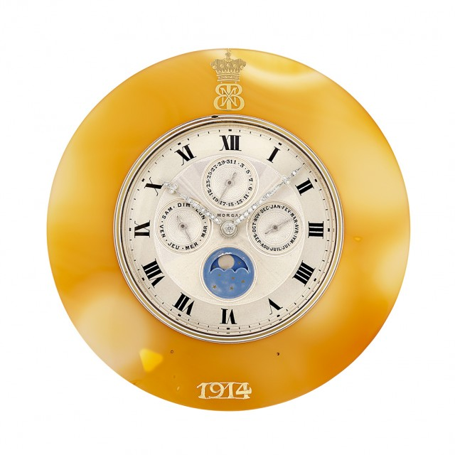Agate, Gold, Silver and Diamond Calendar Desk Clock