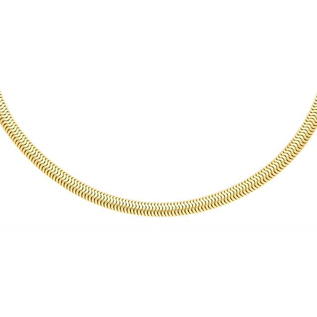 Pair of Two-Color Gold Clips and Laykin et Cie Gold Snake Chain Necklace