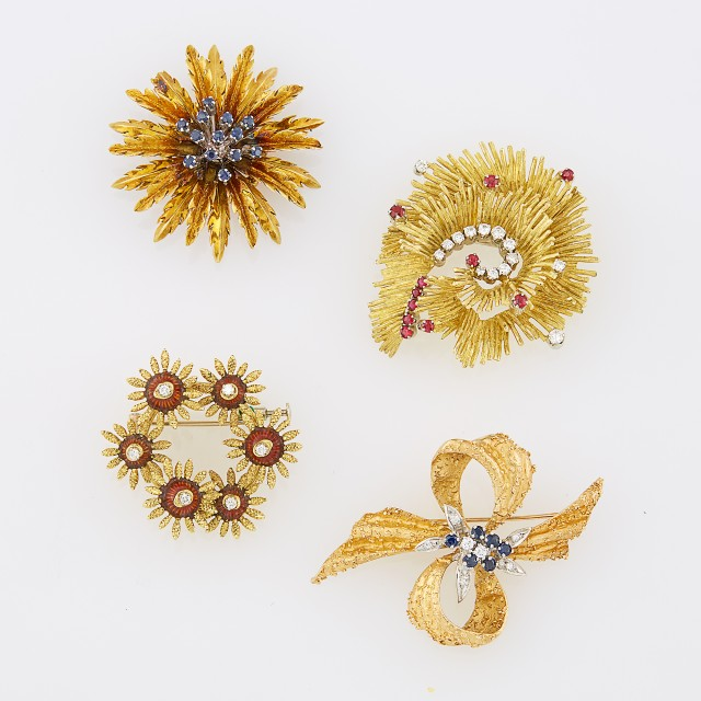 Four Gold, Diamond, Sapphire, Ruby and Enamel Brooches