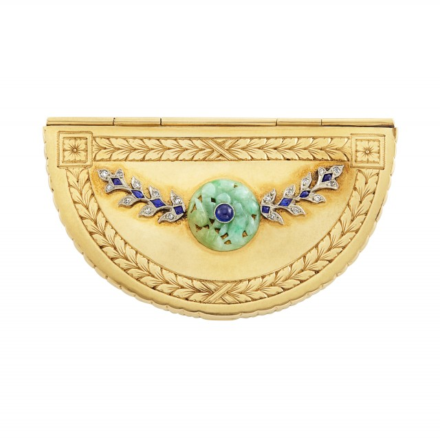 Gold, Platinum, Carved Jade, Cabochon Sapphire, Sapphire and Diamond Compact