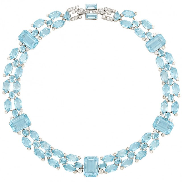 Art Deco Platinum, Aquamarine and Diamond Necklace, Cartier, London