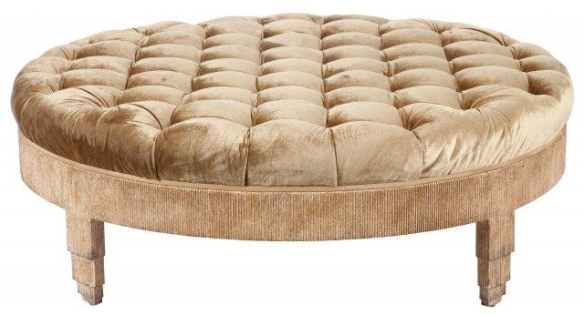 Button-Tufted Upholstered Giltwood Ottoman