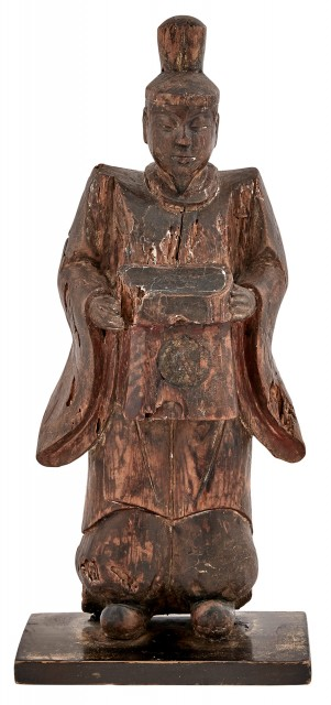 Japanese Wood Sculpture of a Priest