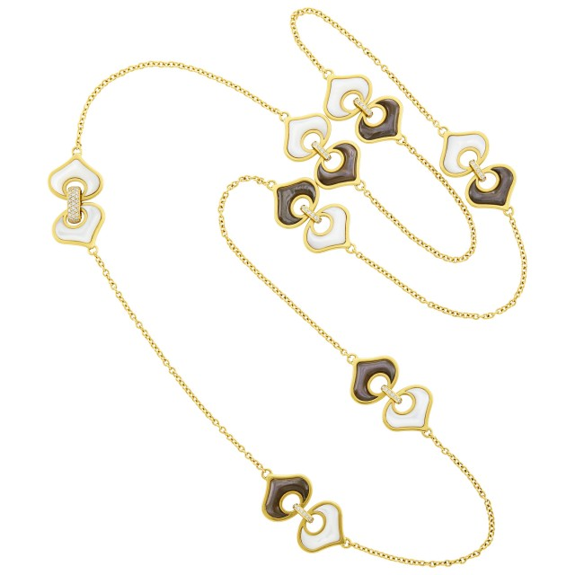 Marina B Long Gold, White and Brown Mother-of-Pearl and Diamond Chain Necklace
