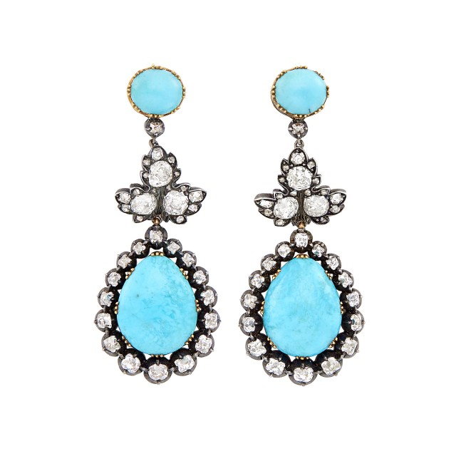 Pair of Antique Silver, Gold, Turquoise and Diamond Pendant-Earrings