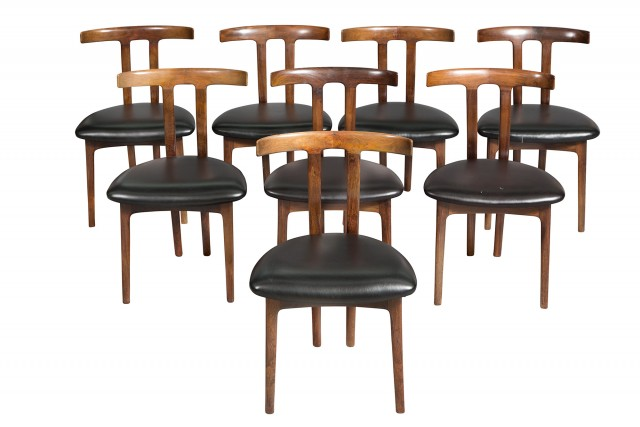 "Set of Eight Ole Wanscher Palisander ""T"" Chairs"