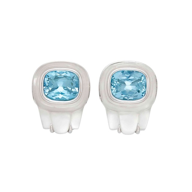 Pair of White Gold, Rock Crystal, Aquamarine and Mother-of-Pearl Earclips, Seaman Schepps