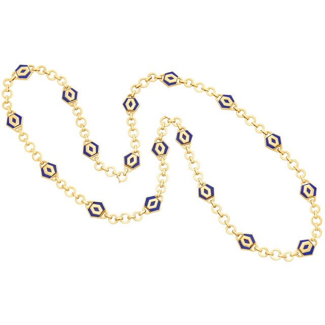 Long Gold and Lapis Chain Necklace, Bulgari