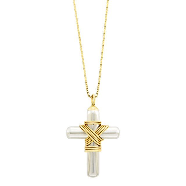 Attributed to Cartier Stainless Steel and Gold Cross Pendant with Gold Chain