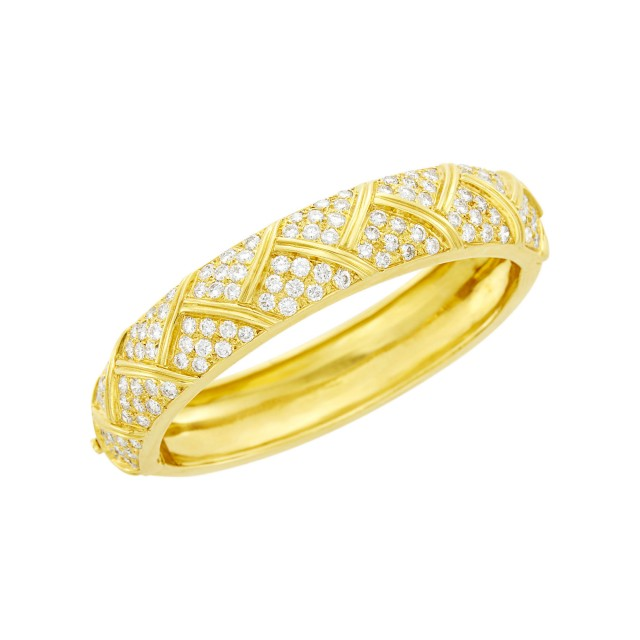 Van Cleef and Arpels Gold and Diamond Bangle Bracelet