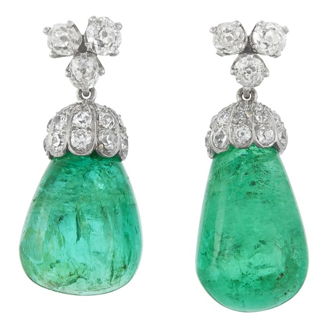Pair of Platinum, White Gold, Diamond and Emerald Pendant Earrings