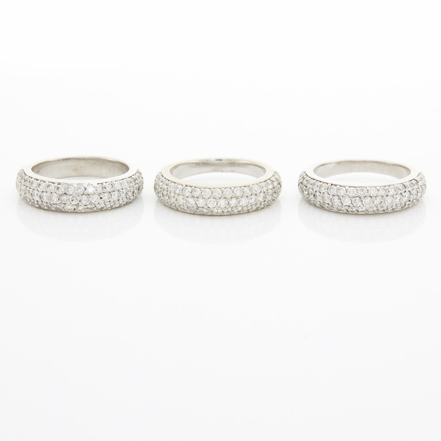 Three White Gold and Diamond Band Rings