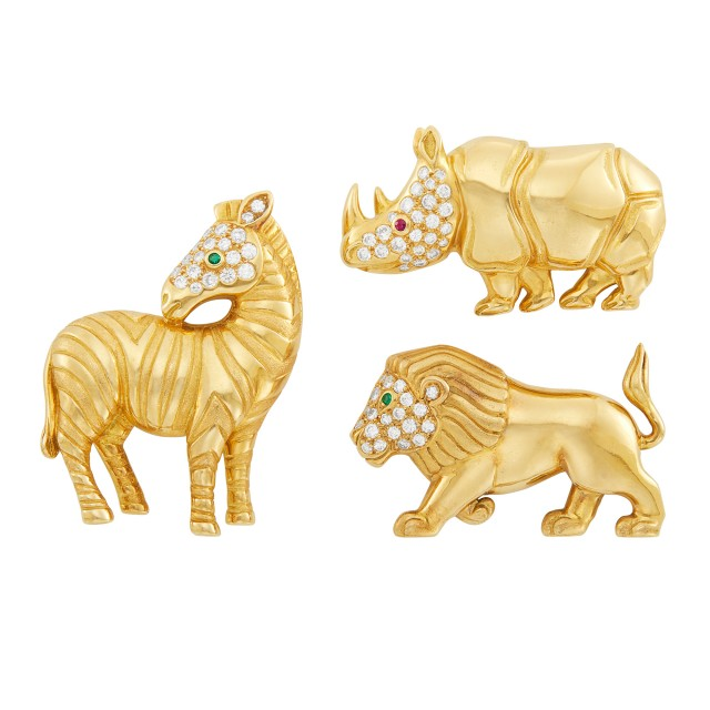 Three Gold, Diamond and Gem-Set Animal Kingdom Clip-Brooches, Tiffany and Co., France
