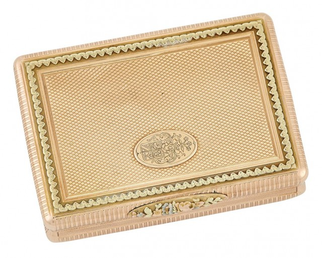 Continental Varicolored Gold Snuff Box