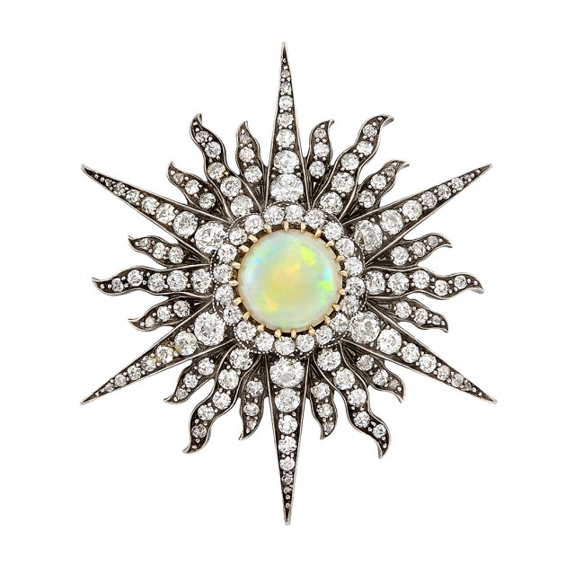 Antique Silver, Gold, Opal and Diamond Sunburst Pendant-Brooch