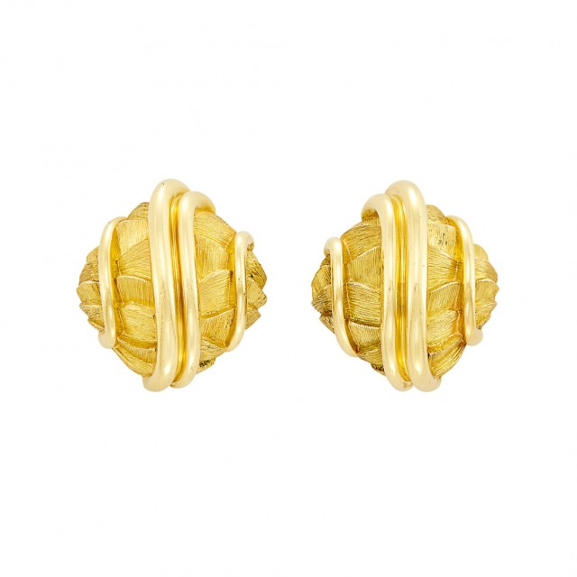 Pair of Gold Earclips, Henry Dunay